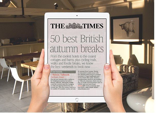 Maison Talbooth, top of the list in The Times – best British autumn breaks